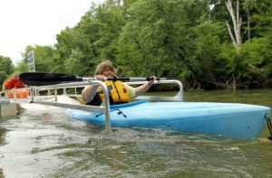 Sandy Hanebrink launches on SC's 1st ADA kayak launch
