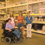 Mary Kiddoo Theresa Beaty Dorothy Dillon and Rhonda with Molly the service dog
